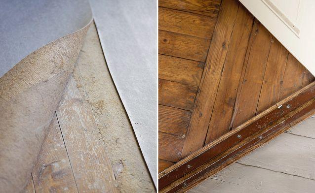 Kauhtuneen muovimaton alta paljastui alkuperäinen lautalattia, joka puhdistettiin ja hiottiin käsin. Olohuoneen lattian Rantasalo käsitteli umbralla sävytetyllä vernissalla, mutta eteishallin huonokuntoinen lattia maalattiin öljymaalilla vaaleanharmaaksi.