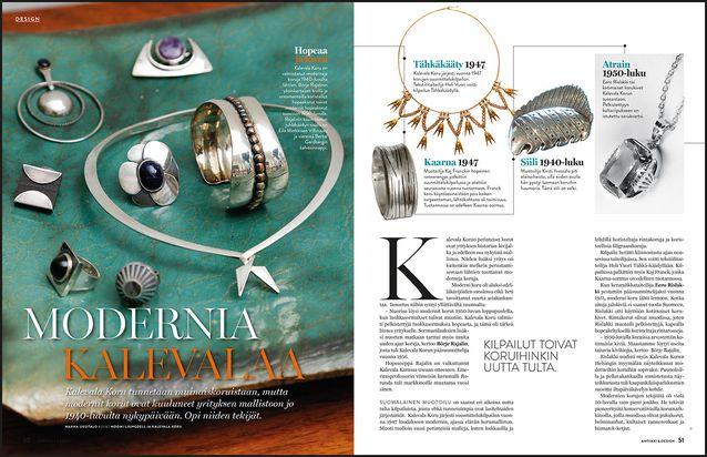 DESIGN. Kalevala Koru tunnetaan muinaiskoruistaan, mutta modernit korut ovat kuuluneet yrityksen mallistoon melkein alusta asti. Esittelemme niitä aikajanalla 1940-luvulta 1990-luvulle.