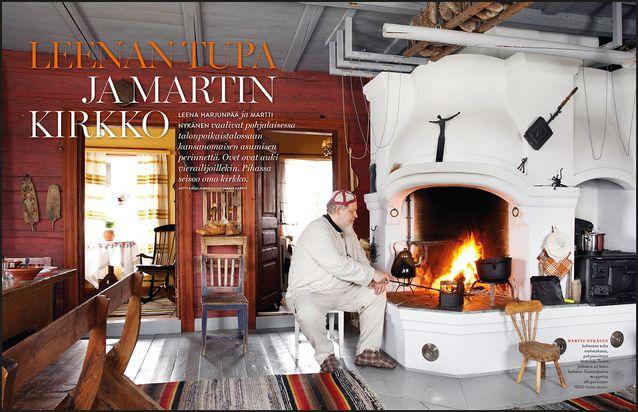 KOTI. Astu sisään 1800-luvun pohjalaistunnelmaan. Leena Harjunpää ja Martti Nykänen vaalivat talonpoikaiskulttuuria kodissaan, jonka pihalle nousi isännän 50-vuotislahjaksi oma kirkko.