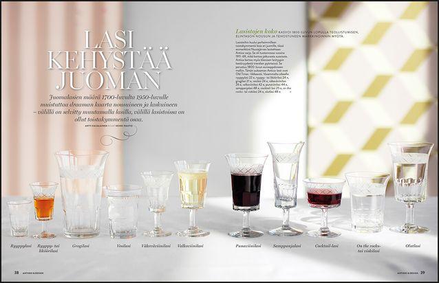 ANTIIKKI/DESIGN. Millaisesta lasista viini kuuluu juoda? Oikeita vastauksia on monta, sen mukaan katetaanko 1700-luvun, 1800-luvun lopun tai 1950-luvun tyyliin. Kerromme lasistojen historiasta.