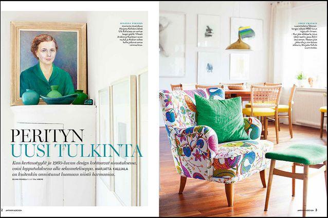 KOTI Vierailemme Marjatta Kallialan kodissa, jonka raikas sisustus on yhdistelmä suvun perintökalusteita ja itse hankittua designia. Värikkään loppusilauksen kokonaisuudelle antavat Josef Frankin kankaat.