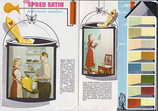 Perho-maalien käyttöoppaan 1950-luvulta on julkaissut Suomen Väri- ja vernissatehdas Oy.