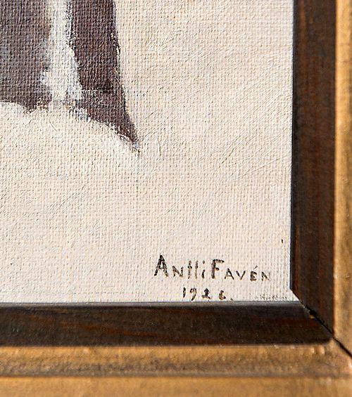 Tässä tapauksessa signeeraus vahvistaa metallilaattaan kaiverretun nimen ja vuosiluku 1926 täsmää aikaan, jolloin Favén työskenteli Helsingissä.