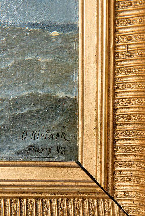 Tavallista nimimerkintää harvinaisempi täydellinen signeeraus kertoo taiteilijan nimen, maalauspaikan ja vuosiluvun.