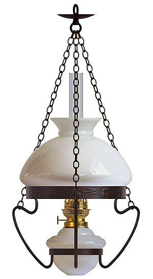 Öljylamppuja käytettiin kaikenlaisissa kodeissa ennen sähkölampun tuloa. Tavallinen malli oli tämäntapainen. Karlskrona Lampfabrikin Listerby-öljylamppu 295 e, Rakennusapteekki