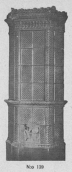 Turun kaakelitehtaan uusrenessanssi-kaakeliuuni. Samoja malleja valmistettiin pitkään; tämän 1800-luvun mallin kuva oli mukana vielä vuoden 1920 kuvastossa.