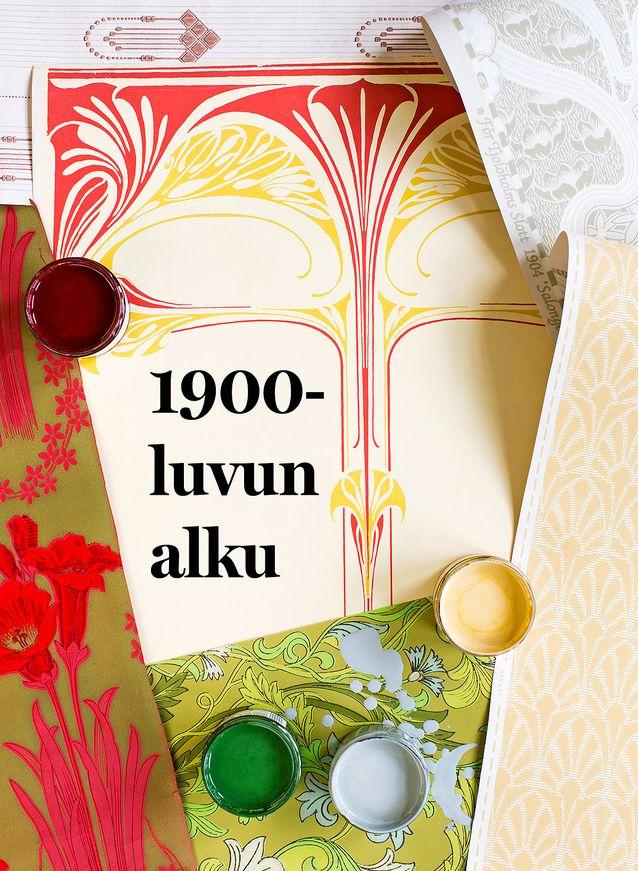 Jugend muutti väripalettia sisustuksessa vaaleampaan, luonnonmukaisempaan ja murretumpaan suuntaan. Muotivärejä olivat vihreä, punainen, keltainen ja harmaa. Allbäckin pellavaöljymaalit 42 e / litra, kromioksidin vihreä 56,70 e / litra, Rakennusapteekki. Keskellä kuvaa tekstin alla on Isadora-boordi, jossa on kaunis art nouveau -kuviointi, korkeus 73,5 cm, 54 e / rulla, Handtryckta Tapeter. Ylhäällä vasemmalla rauhallinen ja moneen interiööriin sopiva kansallisromanttisvivahteinen jugendtapetti Wiener-Jugend, 54,90 e / rulla, Tapettitalo. Ylhäällä oikealla viehättävää art nouveauta vaalean harmaanvihreänä, Tjolöholm grön/vit, Lim & Handtryck, 144 e / rulla, Rakennusapteekki. Alhaalla vasemmalla jugendia murrettuna vihreänä ja voimakkaan punaisena, Liljekrans, Handtryckta Tapeter, 304 e / rulla. Alhaalla keskellä William Morrisin tyyliin -niminen tapetti, 74,90 e / rulla, Tapettitalo. Brittiläinen William Morris suunnitteli jo 1860-luvulla kuoseja, joiden voi nähdä ennakoivan art nouveauta. Alhaalla oikealla yksinkertaista jugend-kuosia, Jugend vit/gul, Lim & Handtryck, erikoispainatus, tiedustelut Rakennusapteekki.
