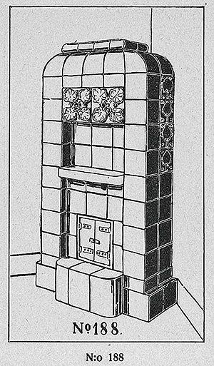 Jugendajan kaakeliuunit ovat nykyään haluttua tavaraa sisustusmarkkinoilla. Jugend-kaakeliuuni Turun Kaakelitehtaan kuvastosta vuodelta 1920.