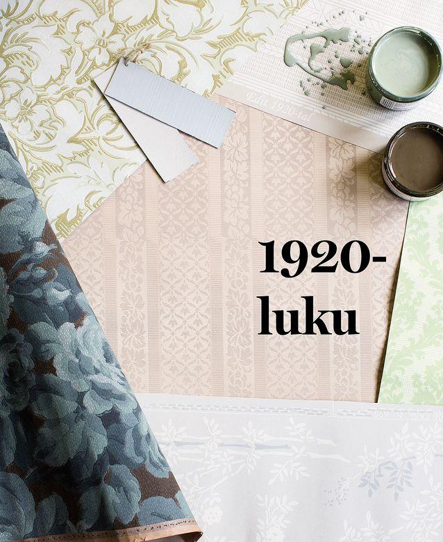 Tummansininen ruusukuvioinen Gråblå Rosgobeläng oli hyvin tyypillinen 1920-luvun muotitapetti, 93 e / rulla, Handtryckta Tapeter. Koko pinnan täyttävä suuri kuvio on myös Talonpojan pionissa vasemmalla ylhäällä, Tapettitalo 64,90 e / rulla. Harmaa pystyraitainen Lim & Handtryckin Edit oikealla ylhäällä edustaa vuosisadan alun jugendin ja 1920-luvun klassismin sopusuhtasta liittoa, 105 e / rulla, Rakennusapteekki.  Kuvan keskellä tekstin alla kangasimitaatiota, Hovdala Slott, Lim & Handtryck, 175 e / rulla, Rakennusapteekki. Oikealla muodikas vihreä Moderato, 48,70 e / rulla, Tapettitalo. Alhaalla ripaus eksotiikkaa yksinkertaistettuna, Lim & Handtryckin Bambu, 118 e / rulla, Rakennusapteekki. Ruskea oli edelleen käyttökelpoinen yleisväri esimerkiksi lattioissa. Eri vihreät ja harmaat nousivat muotiväreiksi. Allbäckin Linus täyshimmeä pellavaöljymaali, sävyt Vintage grå ja Ljusblå, 88,60 e / 3 litraa tai pigmenttijauhe 8,40 e / pussi, Rakennusapteekki. Purkeissa Allbäckin pellavaöljymaalit Lavgrön ja Gammal Ockra, 39 e / litra, Rakennusapteekki.