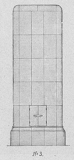 Tulevaa modernismia enteilevä kaakeliuunimalli Turun Kaakelitehtaan kuvastosta vuodelta 1920.