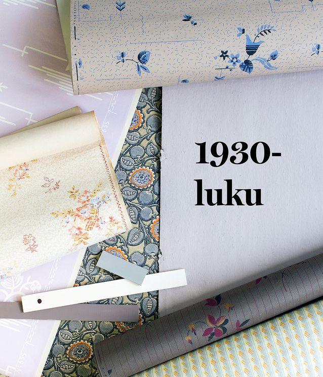 Sisustusväreistä muodikkaimpia olivat 1930-luvulla harmaa, liila, terrakotta, beige ja buff eli vaalea puuteri. Pellavaöljymaalit 39 e / litra, Antiikkiverstas Wilma. Ylhäällä hienostunut sinikukkainen art deco -paperitapetti Kaneli, 54,90 e / rulla, Tapettitalo. Sen alla vasemmalla muodikasta liilaa ja yksinkertainen art deco- kuvio, Deco, Lim & Handtryck, 118 e / rulla, Rakennusapteekki. Vasemmalla keskellä sievää kukkakuviota beigellä muraalipohjalla, Bukett i korg, 92 e /rulla, Handtryckta Tapeter. Keskellä täyteläinen, tumma ja moderni kuosi, Bladverk med blommor, 92 e / rulla, Handtryckta Tapeter. Rullalla tyylikäs kuosi vaikkapa salin seinille, Fänrik guld, 303 e / rulla, Handtryckta Tapeter. Alimpana aavistus tulevista designvuosikymmenistä, Lakkatapetti, 67,20 e / rulla, Tapettitalo.