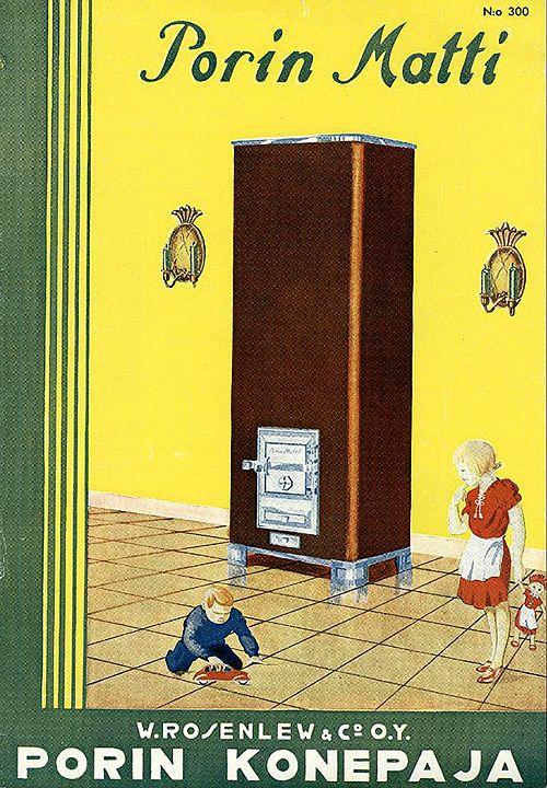 Painavien ja tilaa vievien kaakeli- ja pönttöuunien tilalle tuli peltikamiina, kuten Porin Matti, joka tässä on Porin Konepaja Osakeyhtiön vuoden 1940 kuvaston kannessa.