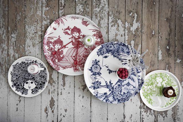 Rosenthal on ottanut Wiinbladin kuvamaailman uusiin moderneihin astioihinsa. Astioita on tällä hetkellä myynnissä ainoastaan Tanskassa ja Norjassa. Kuva Rosenthal