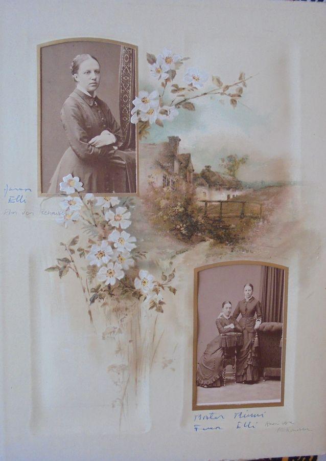Aatelisneidot Elin ja Anni von Rehausen albumiin ikuistettuina 1870-luvun lopulla