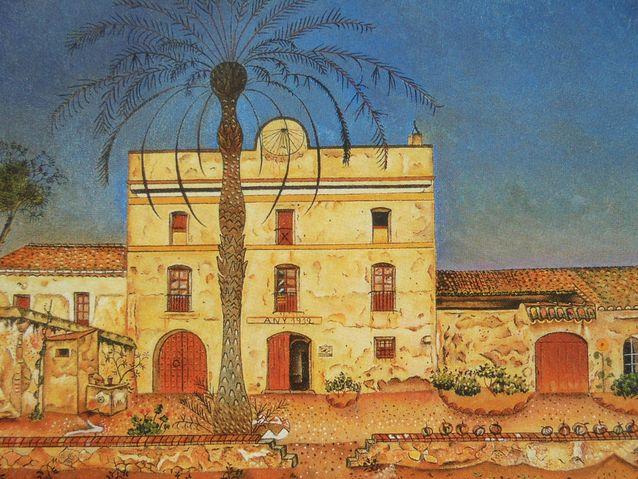 Runollista realismia: kuvan jokaisella yksityiskohdalla on vastineensa todellisuudessa. Maalaus La Casa de la Palmera vuodelta 1918. Kuva on otettu postikortista.