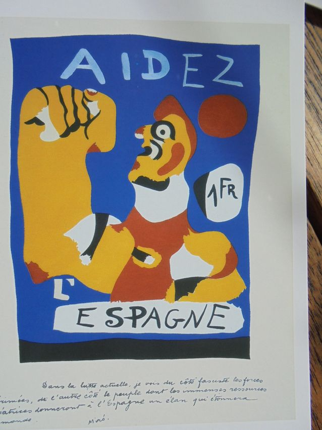 Espanjan sisällissodan sytyminen oli Mirolle suuri kriisi. Hänen työnsä tuolta aikakaudelta henkivät vihaa, turhautumista ja ahdistusta. Tunnetuimpia propagandajulisteita on Miron talonpoikaa kuvaava Aidez l´Espagne vuodelta 1937. Kuva: postikortti
