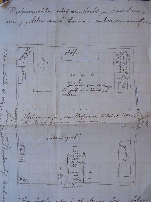 Suuri osa ylioppilaista asui yhteisasunnoissa, täyshoidossa tai majoittui sukulaisten luona. Tässä hauska piirros kahden nuoren  yhteisasunnosta vuodelta 1883, jossa jokainen detalji lattian poikki vilistävistä hiiristä alkaen on ikuistettu.