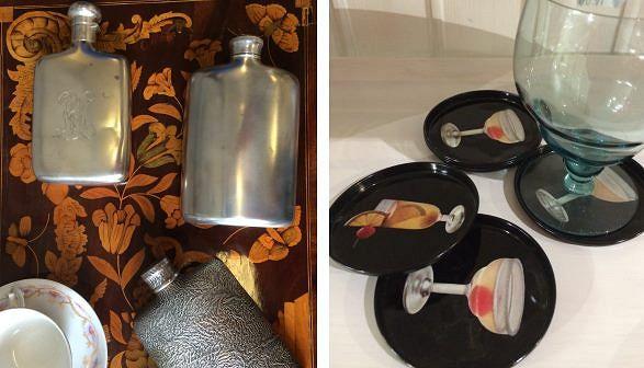 Nämä ainakin kuuluvat herrainhuoneiden varustuksiin. Vasemmalla hopeisia taskumatteja, joista kaksi on turkulaista työtä ja yksi keskieurooppalainen, 280-480 e, Old Times. Vasemmalla kotimaiset (GWS) lasinalustet 60-luvulta, 4 e / kpl, Helsinki Secondhand.