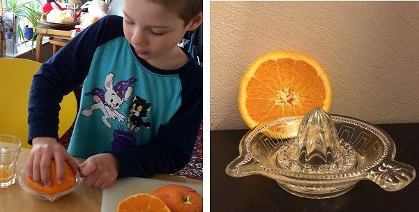 Vanhaa nuoren käytössä: 1920-luvun puristelasinen sitruspuserrin sai 5-vuotiaan pojan haltioihinsa.