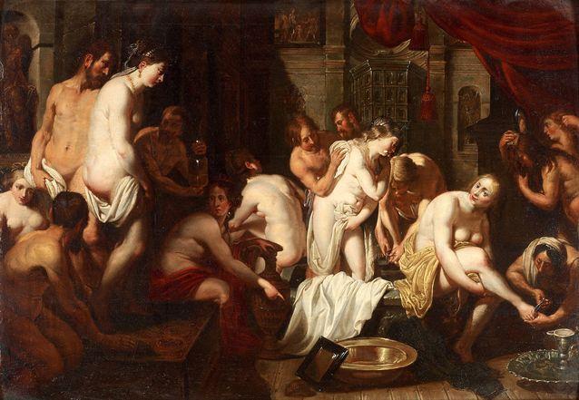 Kuin suomalaisessa saunassa. Peter Paul Rubens, hänen piirinsä, Kylpylän sisäkuva, 1700-luku. 9 200 e, Bukowskis.