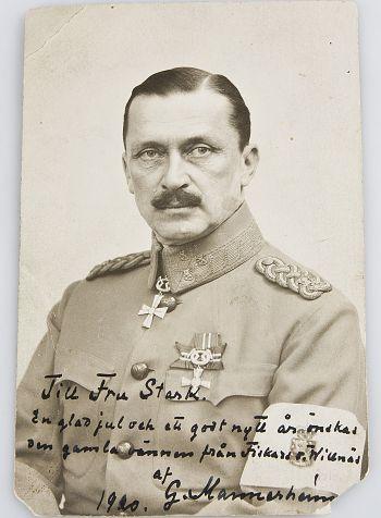 Kortti (koko 14 x 9 cm), C.G.Mannerheim, omistuskirjoitus Mannerheimilta 1920, vasarahinta 800 e, Hagelstam & Co.