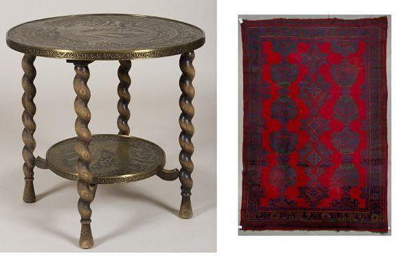 Herrainhuoneen muotia à la orientalismi. Vasemmalla messinkikantinen tupakkapöytä 1920-30-luvulta, 50 e, Hagelstam & Co. Oikealla semiantiikkinen usak-matto, lähtöhinta 320 e, Bukowskis Market.