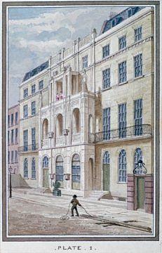 Sir John Soanen kodista on tehty museo. Tässä vesivärityö talosta vuodelta 1830.By courtesy of the Trustees of Sir John Soane's Museum