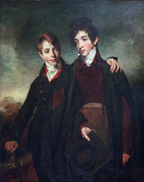 "Muotokuva ""hulttiopojista"" John junior and George Soane, maalannut William Owen, 1805, By courtesy of the Trustees of Sir John Soane's Museum​​"