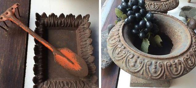 Pieni lapio ja möyhennin kätevästi samassa varressa, 1900-luku, 35 e, oikealla valurautainen uurnapari 1800-luvulta, 560 e, Old Times.