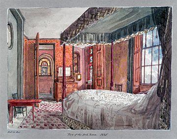 Vesivärityö Soanen suuresti rakastaman vaimon Elizan makuuhuoneesta vuodelta 1825. By courtesy of the Trustees of Sir John Soane's Museum