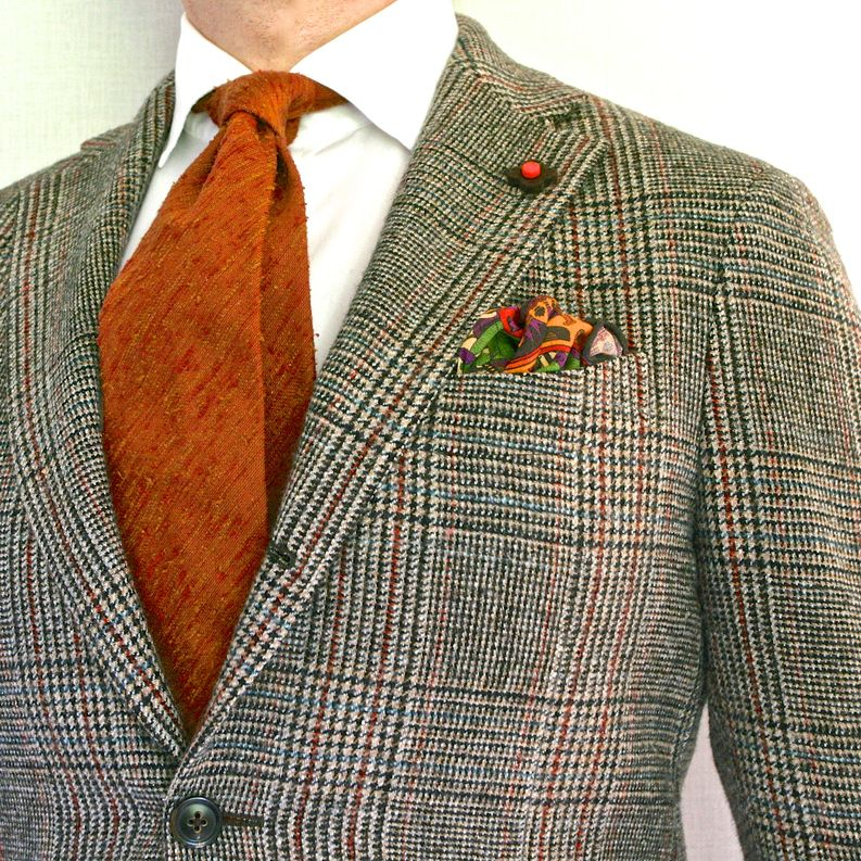 Shantung and tweed go well together due to the rough textures.