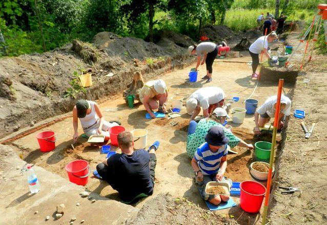 : Bild från Vetenskapscentret Heurekas utgrävningar i Ånäs i Vanda 2014. Utgrävningarna fortsätter 22.6–19.7.2015.  Bild: Jan Fast.