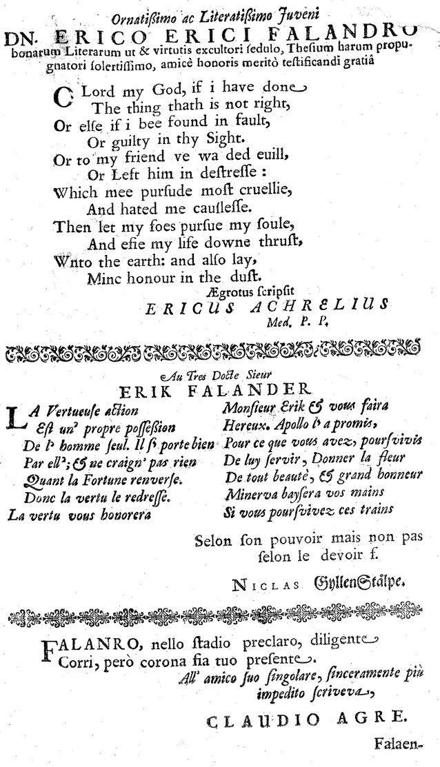 Kaukainen esimerkki italian kielen käytöstä (onnitteluteksti vuodelta 1660 Turun Akatemian väitöskirjassa). Kuva: Kansalliskirjasto.