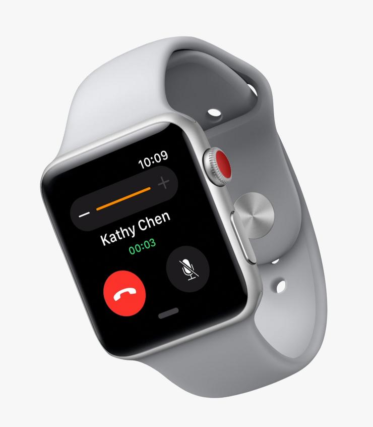 Apple Watch Series 3:n mobiiliyhteysversio GPS + Cellular eroaa normaalista ulkoisesti käytännössä vain punaisella kruunupainikkeen päällä.