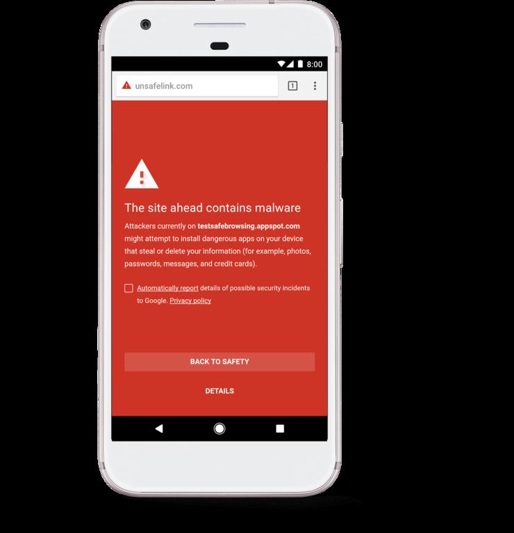 Chromen verkkoselailua turvaavat varoitukset on myös niputettu Google Play Protectin alle.