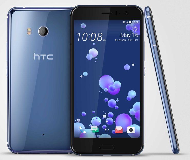HTC U11 Amazing Silver -värissä.