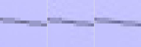 Vasemmalla alkuperäinen kuva, keskellä libjpeg, oikealla Guetzli. Guetzli-kuvassa on vähemmän artefakteja ja tiedostokoko on silti pienempi kuin keskimmäisessä.