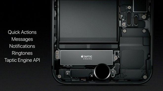 Kuvassa iPhone 7:n läpileikkauksessa Taptic Engine -värinämoottori, joka vastaa myös uuden kotinäppäimen painalluksiin.