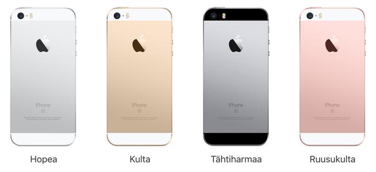 iPhone SE -värivaihtoehdot.