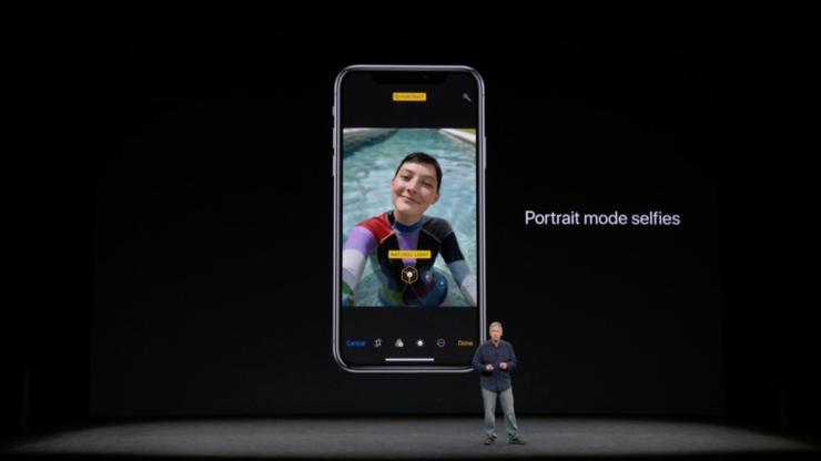 iPhone X:ssä Muotokuva-tila toimii myös etukameralla.