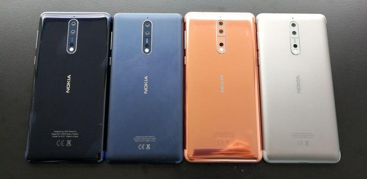Nokia 8:n värivaihtoehdot. Kaksi kiiltävää ja kaksi mattapintaista.