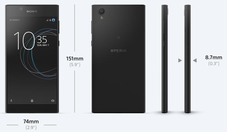 Xperia L1 on 8,7 millimetriä paksu.