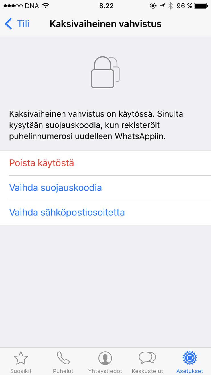 Kaksivaiheinen vahvistus on helppo ottaa käyttöön WhatsAppissa.