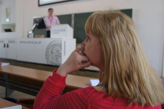 Professori Hanna Snellman European Social Science History -konferenssissa Wienissä 2014. Kuva: Marianne Junila.