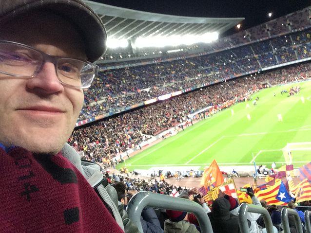 Janne Hopsu Nou Campilla 1.2.2015. Barcelona voitti liigaottelun 3-2 Villarrealia vastaan tiukan kamppailun jälkeen.