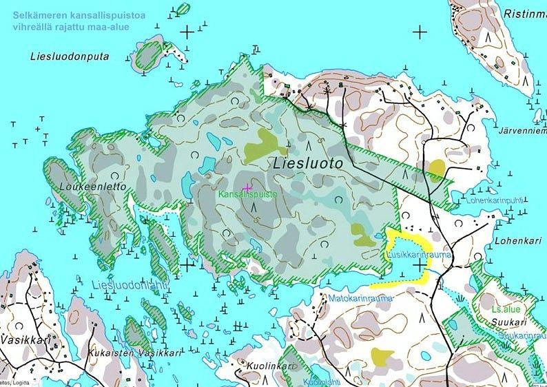 Selkämeren kansallispuiston Liesluoto kartalla.