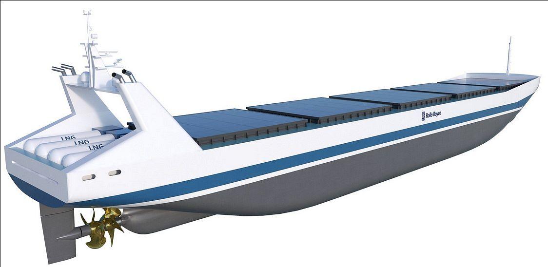 Etäohjattu miehittämätön rahtilaiva Rolls-Roycen hahmottelemana.