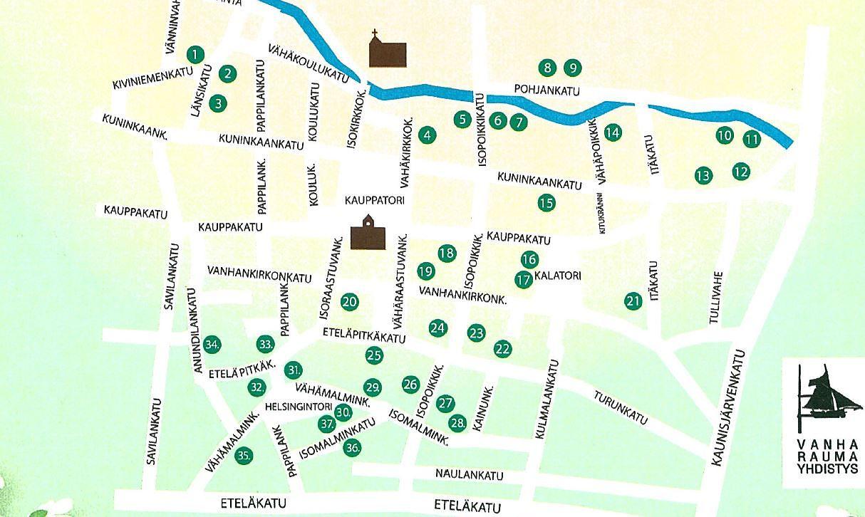 Kuvakaappaus Avoimien pihojen kartasta (Vanha Rauma -yhdistys)