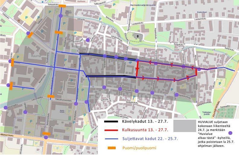 Pitsiviikko muuttaa liikennejärjestelyjä keskustan alueella. Kuva: Rauman kaupunki