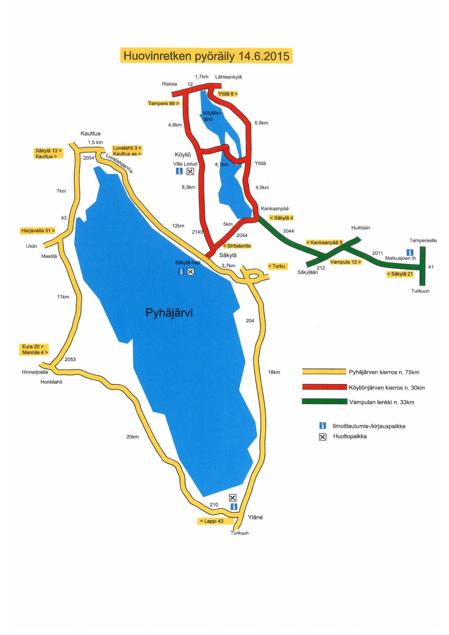 Pyöräretken reitit näkyvät tässä kartassa.